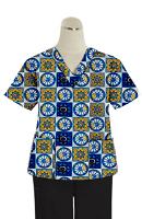 Printed scrub set 4 pocket ladies half sleeve Blue Wheel Print (2 pocket top and 2 pocket black pant)