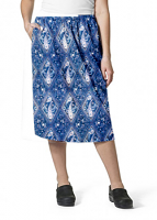 Cargo pockets ladies skirt in Blue with Pink Classical Print