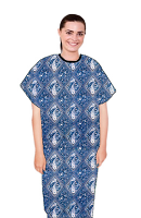 Patient gown half sleeve  printed back open, Blue with Pink Classical Print with Black Piping, Sizes XS-9X