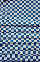 Blue Square Print Loose Fabric Width 64 Inch (52% Polyester & 48  Cotton ) Per Meter