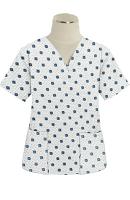 Top v neck 2 pocket half sleeve in Green Square print