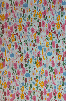 Multi Flower Print Loose Fabric (52% Polyester & 48  Cotton ) Per Meter