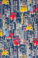 Building And Bus Print Loose Fabric (52% Polyester & 48  Cotton ) Per Meter