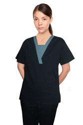 Microfiber Contrast v-neck insert trim 4 pocket set pleats half sleeve with matching bottom (top 2 pkt with bottom 2 pkt boot cut)