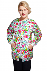 Jacket 2 pocket printed unisex full sleeve in big heart flower print  with rib