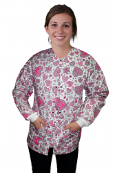 Jacket 2 pocket printed Unisex Full Sleeve in Pink Heart Print with Rib