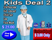 Kids deal 2(stethoscope,kid labcoat,kids scrub set,scrub cap,face mask)