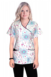 Printed scrub set mock wrap 5 pocket half sleeve in Star and heart print with black piping  (top 3 pocket with bottom 2 pocket boot cut)