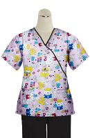 Hello Kitty Printed Set Mock Wrap With Black Piping 5 Pocket Half Sleeve (Top 3 Pocket With Black Bottom 2 Pocket Boot cut)
