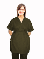Microfiber New style maternity top v neck 2 pocket half sleeve with side tieable
