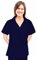 Microfiber Top v-neck collar style ladies 2 pocket top half sleeve