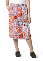 Cargo pockets ladies skirt in Orange And Maroon Traditional Print