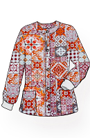 Jacket 2 pocket printed unisex full sleeve in Orange And Maroon Traditional Print with rib