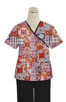 Printed scrub set mock wrap 5 pocket half sleeve in Orange And Maroon Traditional Print with black piping  (top 3 pocket with black bottom 2 pocket boot cut)