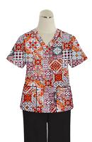 Printed scrub set 4 pocket ladies half sleeve Orange And Maroon Traditional Print (2 pocket top and 2 pocket black pant)
