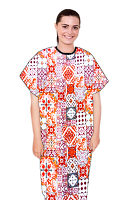 Patient gown half sleeve printed back open, Orange And Maroon Traditional Print with black piping, Sizes XS-9X