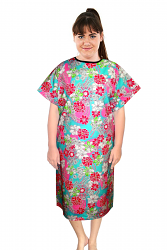 Patient gown half sleeve printed back open, tie-able  from two points in white and pink flower print Chest 54 Inches Length 45 inches $6.25 and Chest 80 inches Length 49 inches $9.25
