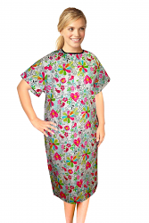 PATIENT GOWN HALF SLEEVE PRINTED BACK OPEN, TIE-ABLE  FROM TWO POINTS IN BIG HEART FLOWER