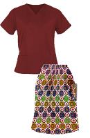 Printed Scrub skirt set 4 pocket ladies half sleeves (2 pocket top 2 pocket skirt in Red Wheel Print)