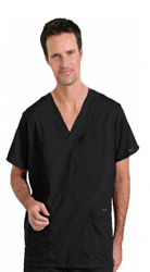 Stretchable Scrub set 4 pocket solid unisex cargo with pencil pocket top half sleeve (1 pkt top with pencil pkt, 1 cargo pkt 1 back pkt pant) in 35% Cotton 63% Polyester 2% Spandex