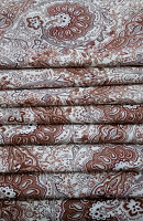 Brown Paisley Loose Fabric Width 64 Inch (52% Polyester & 48  Cotton ) Per Meter