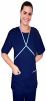 Microfiber ruffle at neck double crossover style set half sleeve 4 pocket set (2 pocket top, 2 pocket bootcut pant)