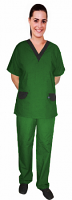 Microfiber a_ set vneck with contrast v with  flap at pockets half sleeve (top 2pkt with pant 2 pkt bootcut)