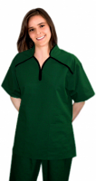Microfiber m style collar 4 pocket ladies scrub set half sleeve (top 2 pkt with bottom 2 pkt boot cut)