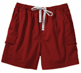 Microfiber fabric cargo shorts full elastic waistband  2 side pocket 2 cargo pocket with flap 1 back patch pocket (inseam is 5 inches)