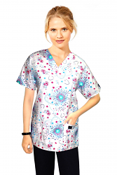 Top v neck 2 pocket half sleeve in Star and Heart print