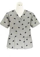 Top v neck 2 pocket half sleeve in Black Leaf Print