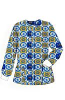 Jacket 2 pocket printed unisex full sleeve in Blue Wheel Print with rib