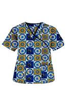 Top mock wrap 3 pocket half sleeve in Blue Wheel Print with black piping