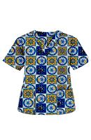 Top v neck 2 pocket half sleeve in Blue Wheel Print