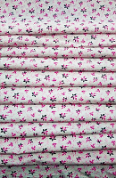 Pink and Black flower Print Loose Fabric Width 64 Inch (52% Polyester & 48  Cotton ) Per Meter