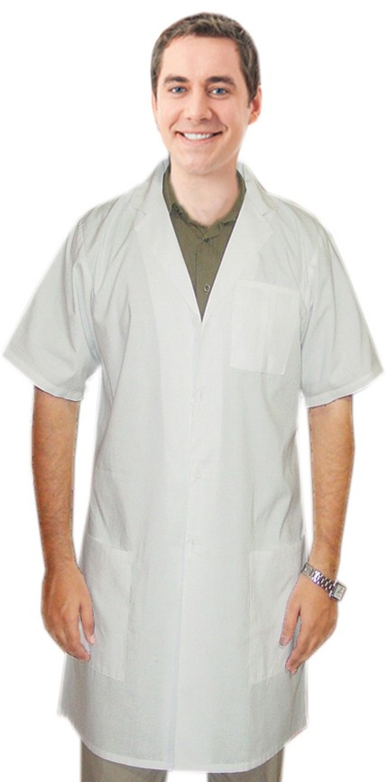 Microfiber labcoat unisex half sleeve plastic buttons 3 pocket solid  in 36  38  40 42  lengths