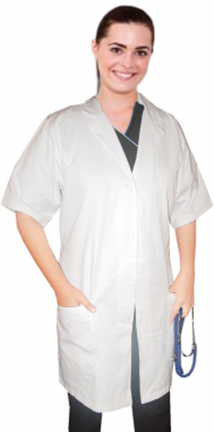 TWILL LABCOAT LADIES SOLID HALF SLEEVE  PLASTIC BUTTONS 3 POCKET IN 36 38 40 42 INCH LENGTHS