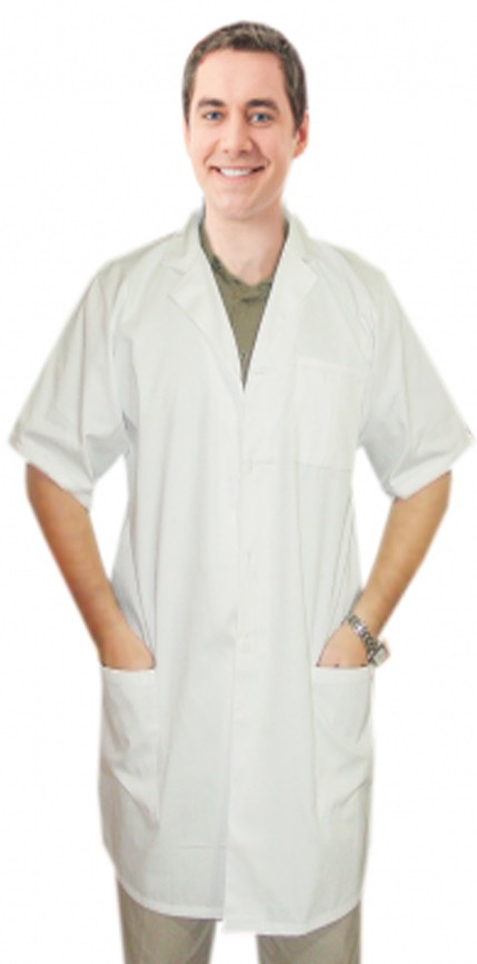 """TWILL LABCOAT 3 POCKET UNISEX SOLID HALF SLEEVE PLASTIC BUTTONS IN 36"""",38"""",40"""",42"""" LENGTHS"""