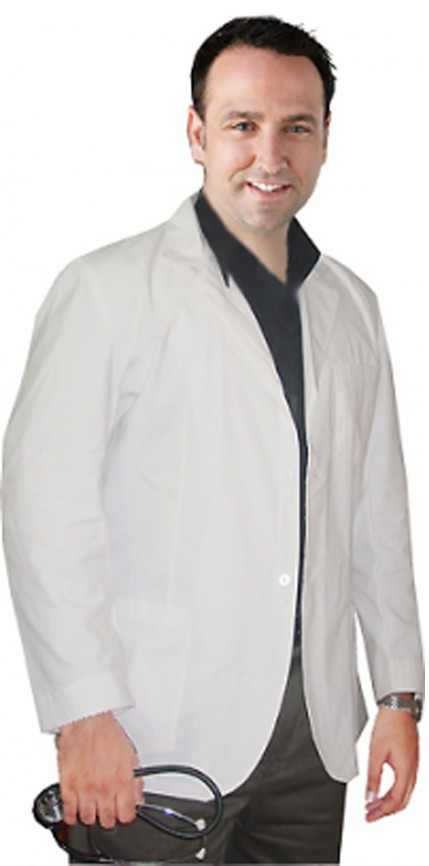 CONSULTATION LABCOAT MEN FULL SLEEVE WITH PLASTIC BUTTONS 3 POCKETS IN ( 48 Perc Cotton,52 Perc Polyester) POPLIN FABRIC