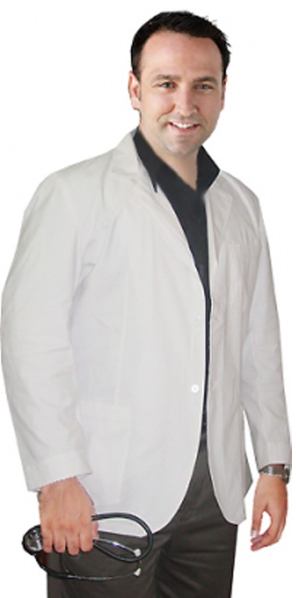 Consultation labcoat men full sleeve with plastic buttons 3 pockets in twill fabric