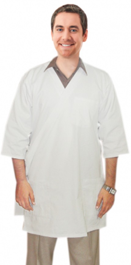"""TWILL LABCOAT UNISEX HALF SLEEVE WITH SIDE TIEABLE 3 POCKETSOLID IN 37"""" LENGTHS"""