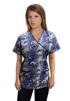 Printed scrub set mock wrap 5 pocket half sleeve in Blue And White Flower Print With Black Piping (top 3 pocket with black bottom 2 pocket boot cut)