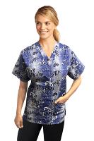 Printed scrub set 4 pocket ladies half sleeve Blue And White Flower Print (2 pocket top and 2 pocket black pant)