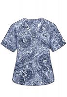 Printed scrub set 4 pocket ladies half sleeve Blue Paisley Print (2 pocket top and 2 pocket black pant)
