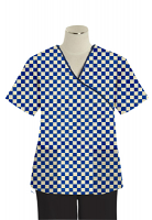 Printed scrub set mock wrap 5 pocket half sleeve in Blue Square Print With Black Piping  (top 3 pocket with black bottom 2 pocket boot cut)