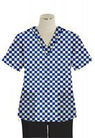 Top v neck 2 pocket half sleeve in Blue Square Print