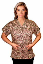 Top v neck 2 pocket half sleeve in brown daisy print