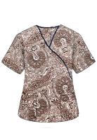 Printed scrub set mock wrap 5 pocket half sleeve in Brown Paisley Print with black piping  (top 3 pocket with black bottom 2 pocket boot cut)