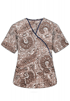Top mock wrap 3 pocket half sleeve in Brown Paisley Print with Black Piping
