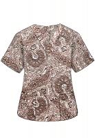 Printed scrub set 4 pocket ladies half sleeve Brown Paisley Print (2 pocket top and 2 pocket black pant)